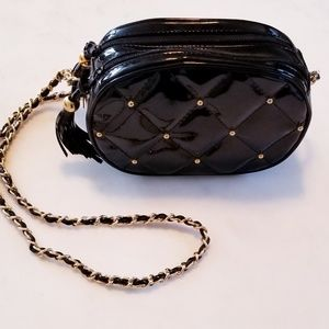 Vintage Patent Leather Quilted Bag Double Tassels!